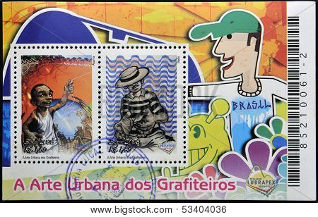 BRAZIL - CIRCA 2006: Stamps printed in Brazil dedicated to urban art of graffiti circa 2006