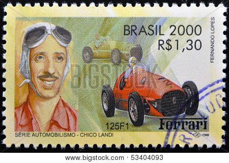 BRAZIL - CIRCA 2000: A stamp printed in Brazil dedicated to motor shows Chico Landi