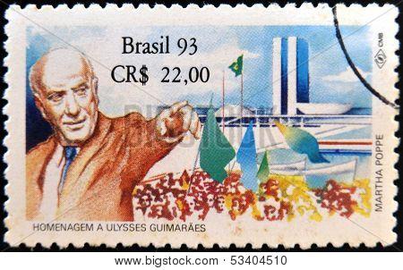 BRAZIL - CIRCA 2003: A stamp printed in Brazil shows Ulysses Guimaraes circa 2003