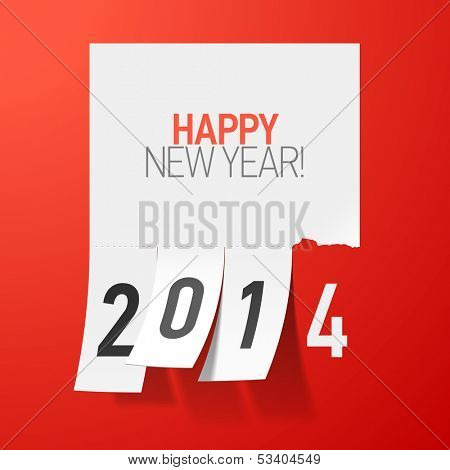 Happy New Year 2014 greetings. Vector.