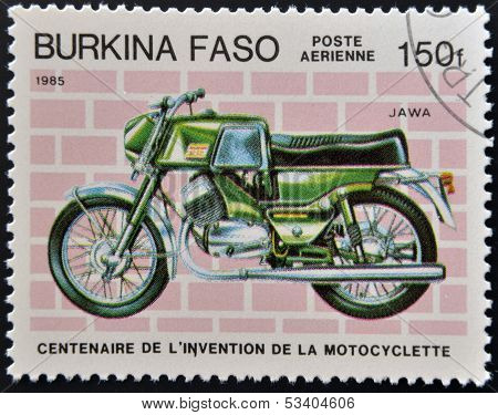 A stamp printed in Burkina Faso showing vintage motorcycle Jawa