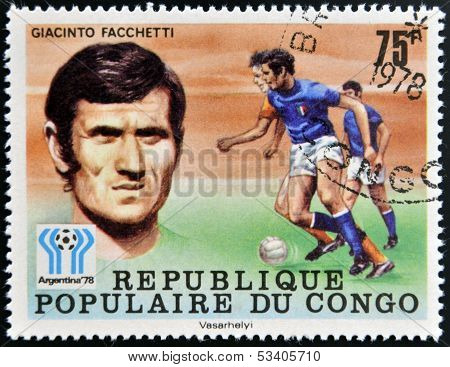 stamp printed in Congo dedicated to the World Cup in Argentina 1978 shows Giacinto Facchetti