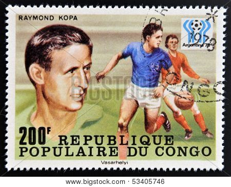 stamp printed in Congo dedicated to the World Cup in Argentina 1978 shows Raymond Kopa
