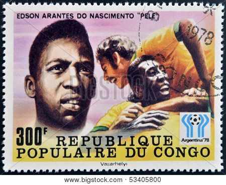 stamp dedicated to the World Cup in Argentina 1978 shows Edson Arantes do Nascimento Pele