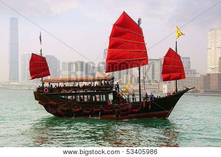 Tourist junk in Victoria harbor. Hong Kong