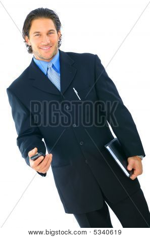 Isolated Happy Young Businessman Walking