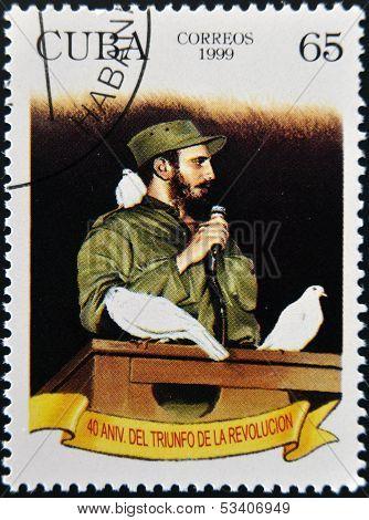 CUBA - CIRCA 1999: A stamp shows Fidel Castro in Havana entrance with a dove percheder