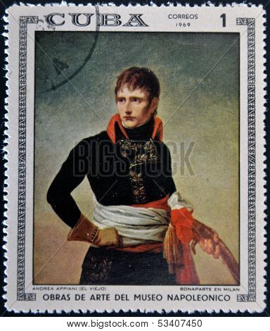 Stamp dedicated to Artworks Napoleon Museum shows Bonaparte in Milan by Andrea Appiani