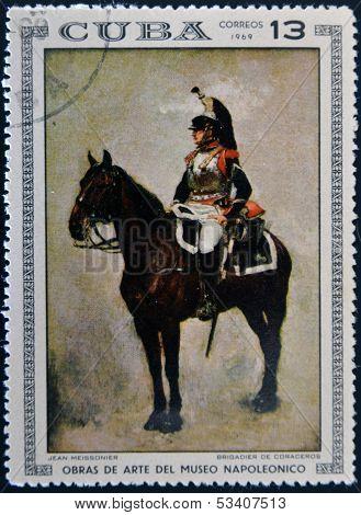 Stamp dedicated to Artworks Napoleon Museum shows Brigadier Cuirassiers by Jean Meissonier