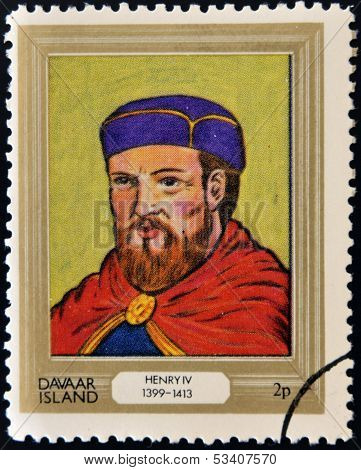 stamp printed in Davaar Island dedicated to the kings and queens of Britain shows King Henry IV