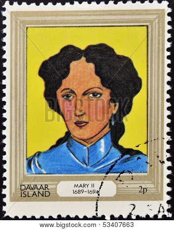 stamp printed in Davaar Island dedicated to the kings and queens of Britain shows Queen Mary II