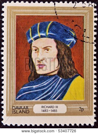 stamp printed in Davaar Island dedicated to the kings and queens of Britain shows King Richard III