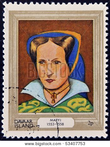 stamp printed in Davaar Island dedicated to the kings and queens of Britain shows Queen Mary I