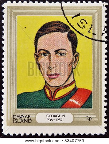 stamp printed in Davaar Island dedicated to the kings and queens of Britain shows King George VI