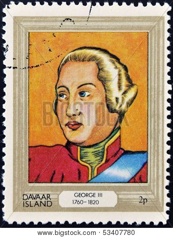 stamp printed in Davaar Island dedicated to the kings and queens of Britain shows King George III