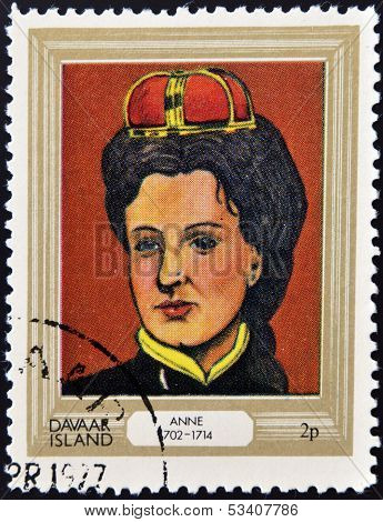 stamp printed in Davaar Island dedicated to the kings and queens of Britain shows Queen Anne