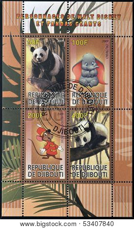 DJIBOUTI - CIRCA 2009: stamps dedicated to the characters of Walt Disney and giant pandas