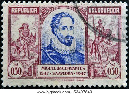 ECUADOR - CIRCA 1947: A stamp printed in Ecuador shows Miguel de Cervantes and Don Quixote