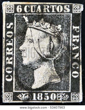 SPAIN - CIRCA 1850: first stamp printed in Spain shows Queen Elizabeth II circa 1850