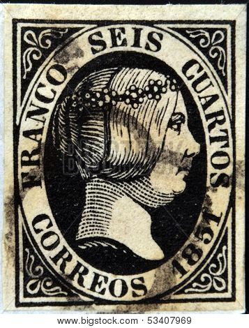 SPAIN - CIRCA 1851: A stamp printed in Spain shows Queen Elizabeth II circa 1851