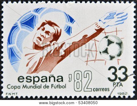 SPAIN - CIRCA 1982: Stamp printed in Spain dedicated to Football World Cup in Spain 1982 circa 1982