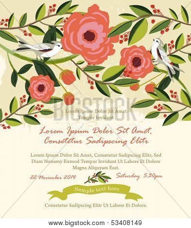 Vintage flowers & birds illustration Wedding Invitation