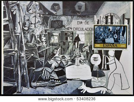 SPAIN - CIRCA 1978: A stamp printed in Spain shows Las Meninas by Pablo Picasso circa 1978