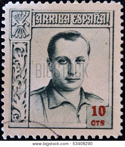 SPAIN - CIRCA 1937: A stamp printed in Spain shows Jose Antonio Primo de Rivera circa 1937