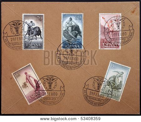SPAIN - CIRCA 1960: Stamps printed in Spain dedicated to Bullfighting circa 1960