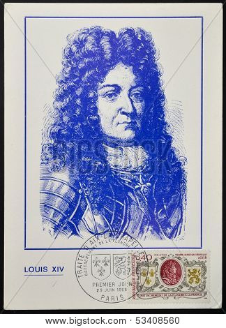 A stamp printed in France shows King Louis XIV coat of arms of France and Flanders
