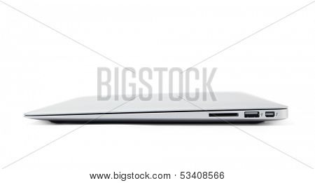 Thin gray aluminium laptop, isolated on white