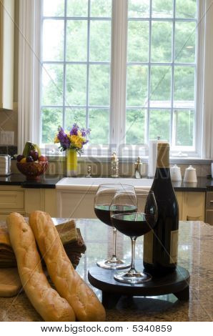 Kitchen Island With Wine Baguettes