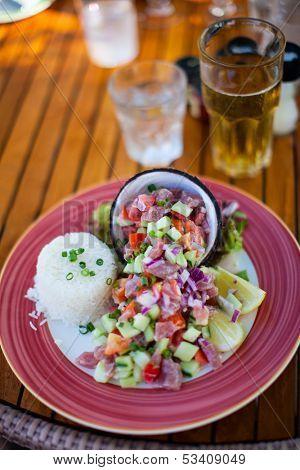 Traditional Tahitian tuna salad served in coconut