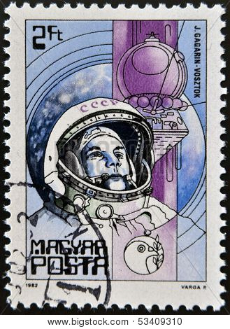 HUNGARY - CIRCA 1982: A Stamp printed in Hungary shows the Yuri Gagarin Vostok circa 1982