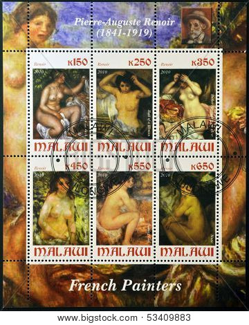MALAWI - CIRCA 2010: Collection stamps printed in Malawi shows Renoir paintings circa 2010