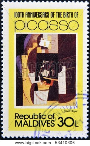 stamp printed in Malldives Islands shows card player by Pablo Ruiz Picasso