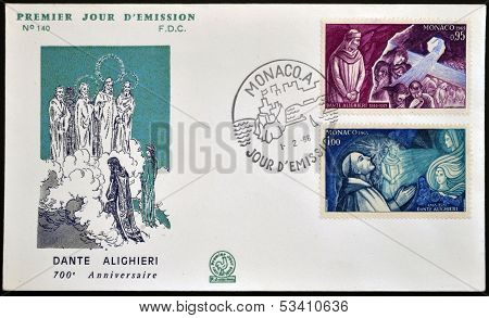 MONACO - CIRCA 1965: A stamp printed in Monaco dedicated to Dante Alighieri circa 1965