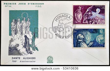 MONACO - CIRCA 1965: A stamp printed in Monaco dedicated to Dante Alighieri circa 1965
