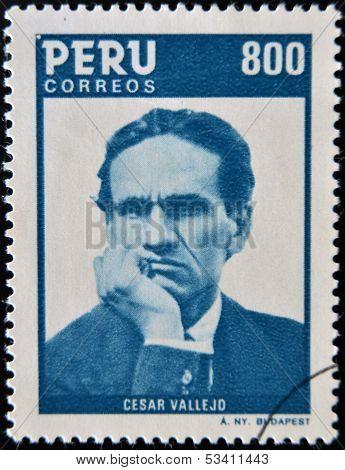 PERU - CIRCA 1986: A stamp printed in Peru shows Cesar Vallejo circa 1986