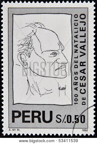 PERU - CIRCA 1992: A stamp printed in Peru shows Cesar Vallejo circa 1992