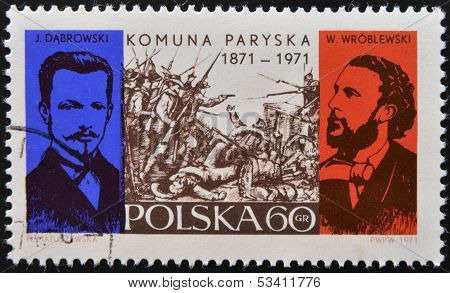POLAND - CIRCA 1971: A stamp printed in Poland commemorating the centenary of the Paris Commune
