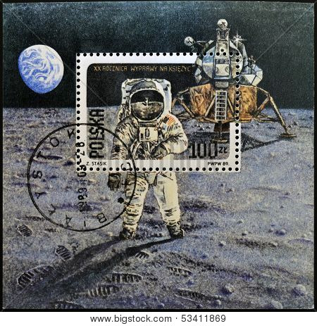 POLAND - CIRCA 1989: A stamp shows Neil Armstrong lunar module