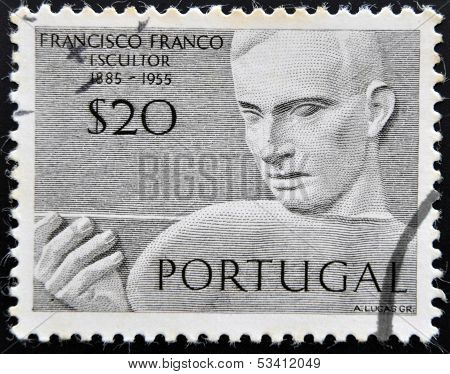 PORTUGAL - CIRCA 1955: Stamp printed in Portugal shows the sculptor Francisco Franco circa 1955