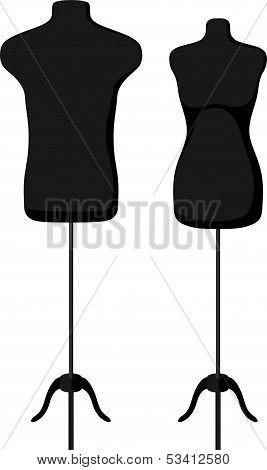 Male and female empty mannequin torso template.