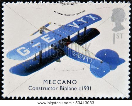 UNITED KINGDOM - CIRCA 2003: A stamp printed in Great Britain shows Meccano constructor biplane