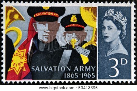 A stamp printed in Great Britain dedicated to Centenary of the Salvation Army