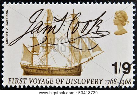 A stamp printed in Great Britain shows Captain Cook's Endeavour and Signature