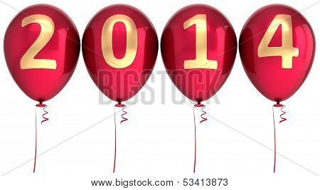 2014 New Year balloons party decoration. Winter celebration helium balloon