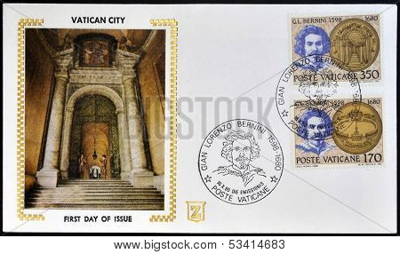 VATICAN CITY - CIRCA 1980: Stamp printed in Vatican shows Gian Lorenzo Bernini circa 1980
