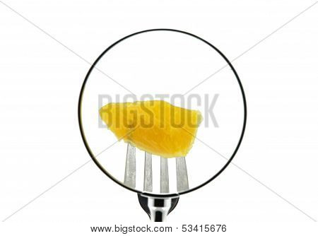 A slice of orange on a fork punctured seen behind a magnifying glass